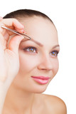 Plucking eyebrows poster