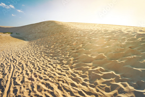 Shifting dunes at sunset in Leba, Poland