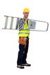 A handyman carrying a ladder.
