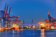 Leinwanddruck Bild - Köhlbrandbrücke Hafenkrane