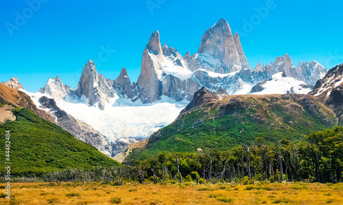Scenic landscape with Mt Fitz Roy in Patagonia, South America
