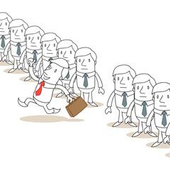 Geschäftsmann, Reihe, gleichförmig, rennend
