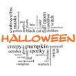 Halloween Word Cloud Concept in Orange & Black