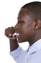 Teenage Boy Brushing Teeth