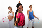 Women working out with hula-hoops