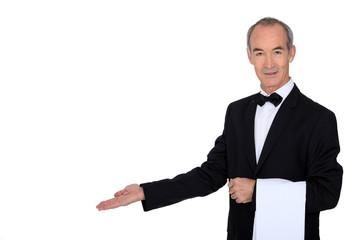 Grey haired waiter