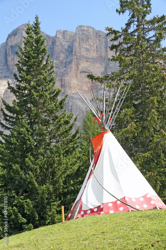 Fotobehang Indiërs Indian teepee amidst the mountain meadow