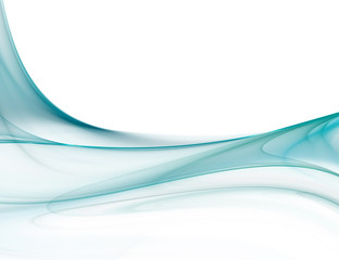 Gentle blue fractal wave on white background