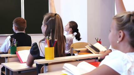 Schoolchildren raising their hands during the lesson
