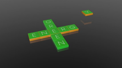 Green Energy, falling boxes with camera animation, Alpha