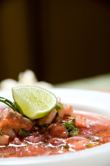 Ecuadorian food series: shrimp with fish ceviche