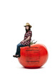 Woman Sitting on Tomato