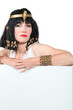 Cleopatra holding white board