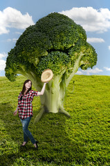 Woman and Broccoli Tree