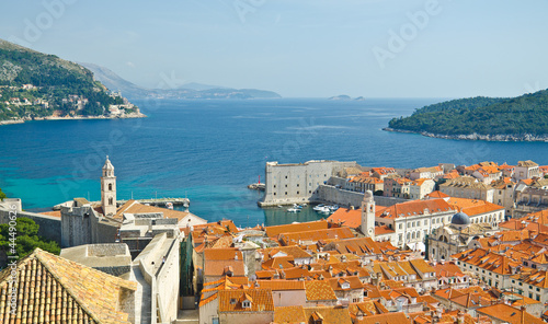 view on old center of Dubrovnik city and Church