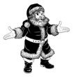 Black and white Christmas Santa Claus
