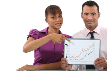 Business couple pointing at graph