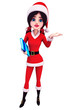 Standing santa girl with gift
