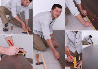 Montage on man laying laminate flooring