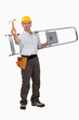 carpenter carrying ladder with hammer