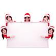 five santa girl standing around white sign