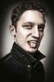 man with vampire style bangs, blood