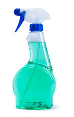 Green plastic dispenser with cleaning liquid