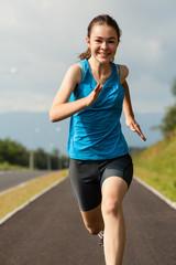 Girl running, jumping outdoor