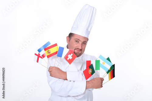 Chef holding flags