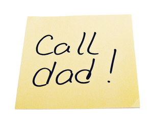 paper with a reminder call dad