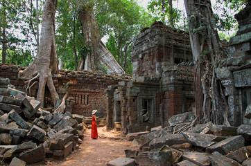 Im Innenbereich des Ta Prom Tempels, Kambodscha