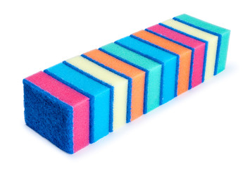 A row of cleaning sponges