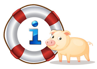 Pig and lifesaver floating