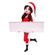 illustration of santa girl with sign