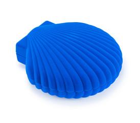 blue gift box in the shape of seashells