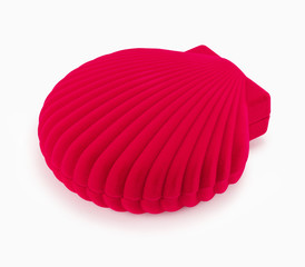 Red gift box in the shape of seashells