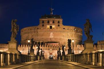 The bridge to the Castel Sant'Angelo in Rome, Italy