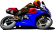 Motorcycle on the road. Biker. Vector illustration