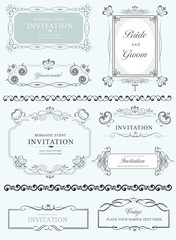 Big collection of ornate vector frames and ornaments with sample