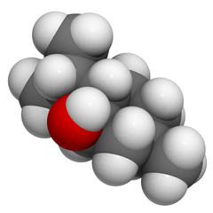 Levomenthol (menthol, mint scent) molecule, chemical structure