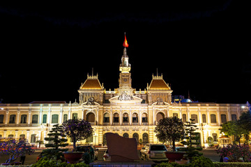 The Ho Chi Minh City Hall in Vietnam at Dong Khoi Street.