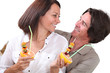 Couple enjoying a fruit salad