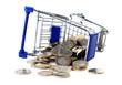 Eurostücke im Einkaufswagen