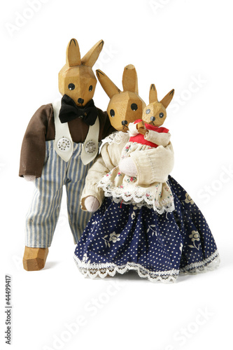 Hand-crafted wooden rabbits