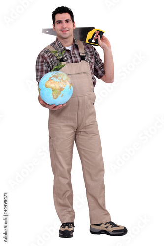 Plakat Carpenter holding a globe