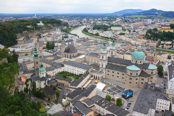Salzach River and the City of Salzburg, Austria