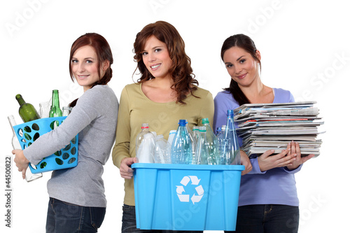 Women recycling domestic waste