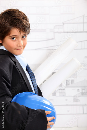 Boy dressed as an architect