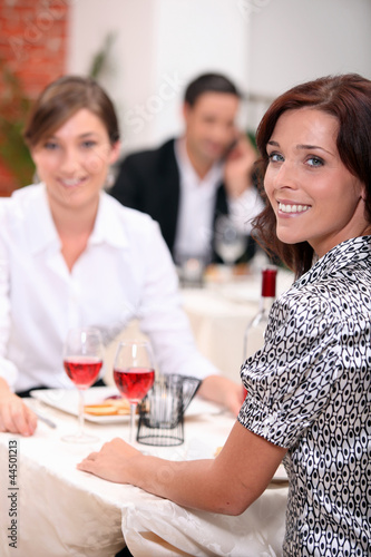 Women eating out in a restaurant together
