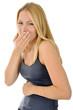 Leinwanddruck Bild - Junge Frau mit Sodbrennen und Aufstoßen